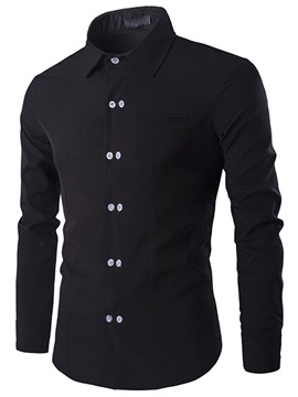 Slim-Fit Plain Double-Breasted Men's Shirt