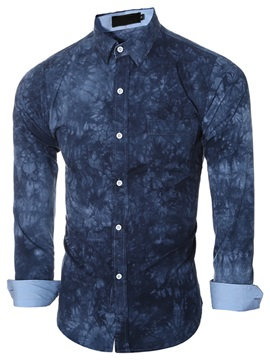 Floral Print Long Sleeve Men's Causal Shirt