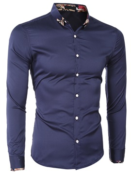 Single-Breasted Floral Patch Men's Causal Shirt