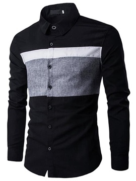 Contrast Color Long Sleeve Men's Causal Shirt