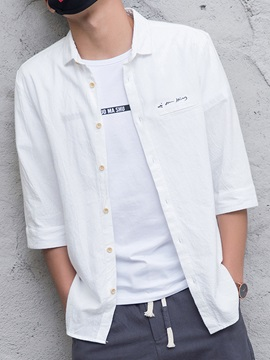 Chest Embroidery Casual Men's Three-Quarter Sleeve Shirt