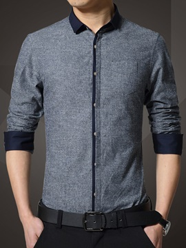 Color Block Single-Breasted Men's Causal Shirt