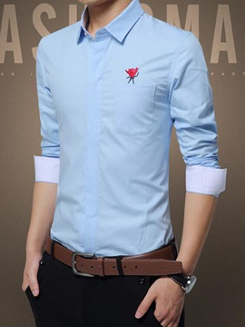 Rose Embroidery Slim Fit Men's Cotton Blends Shirt