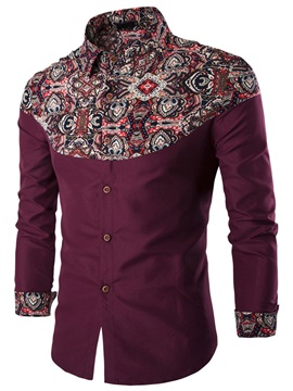 Floral Patch Single-Breasted Men's Causal Shirt