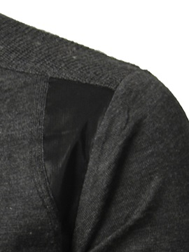 PU Patch Single-Breasted Men's Casual Shirt