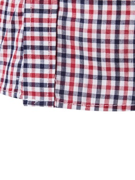 Patchwork Mini-Plaid Men's Chest Pocket Causal Shirt