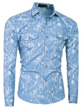 Floral Printed Chest Pocket Men's Causal Shirt