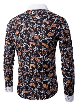 Floral Printed Cotton Blends Men's Casual Shirt