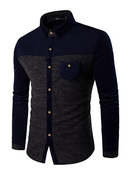 Woolen Patch Single-Breasted Men's Casual Shirt
