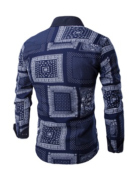 Vogue Print Single-Breasted Men's Long Sleeve Casual Shirt