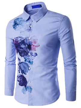 Cotton Blends Floral Printed Men's Causal Shirt