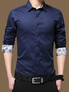Solid Color Men's Cotton Blends Casual Shirt