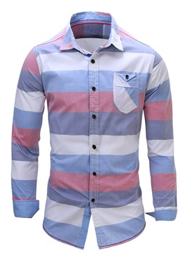Bold Stripe Cotton Blends Men's Chest Pocket Shirt