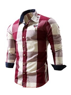Chest Embroidery Single-Breasted Men's Plaid Shirt