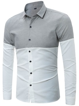 Patch Big Size Slim Men's Casual Shirt