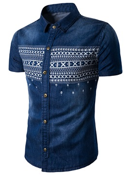 Short Sleeve Stripe Lapel Men's Denim Shirt