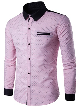 Chest Pocket Polka Dots Men's Slim Shirt