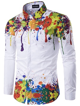 Splashed Paint Slim Fit Leisure Men's Shirt