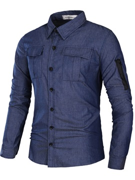 Simple Multi-pocket Slim Men's Casual Shirt