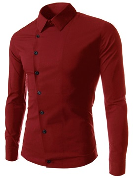 Plain Unique Zipper Lapel Men's Casual Shirt