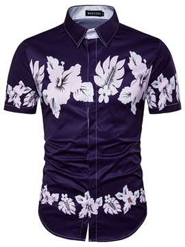 3D Floral Print Lapel Men's Slim Shirt