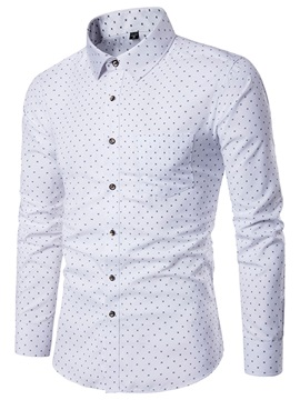 Dots Print Slim Fit Lapel Men's Casual Shirt