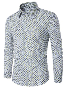 Slim Oval Print Lapel Men's Casual Shirt