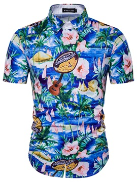 Palm Print Slim Hawaii Style Men's Shirt