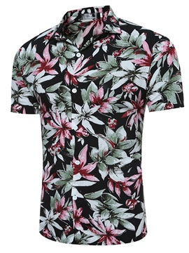 Tidebuy Floral Print Lapel Short Sleeve Men's Shirt