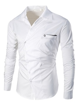 Solid Color Oblique Button Lapel Men's Shirt