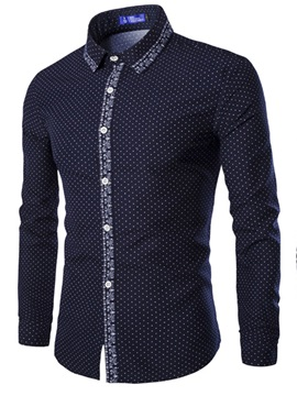 Polka Dots Lapel Plain Long Men's Shirt