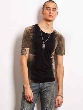 Color Block Printed Men's Casual T-Shirt