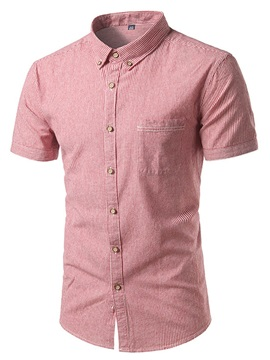 Lapel Single-Breasted Stripe Men's Casual Shirt