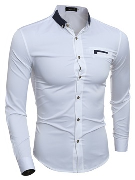 Lapel Pocket Slim Men's Casual Shirt