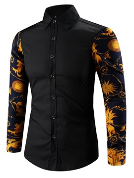 Lapel Print Patchwork Color Block Men's Shirt