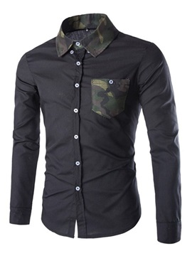 Camouflage Lapel Pocket Solid Color Long Sleeve Men's Casual Shirt