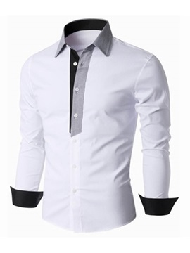 Mosaic Color Lapel Long Sleeve Slim Men's Casual Shirt