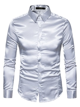 Solid Bright Color Lapel Single-Breasted Long Sleeve Slim Men's Casual Shirt