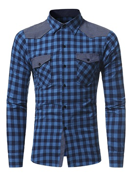 Lattice Lapel Single-Breasted Pockets Long Sleeve Slim Men's Casual Shirt