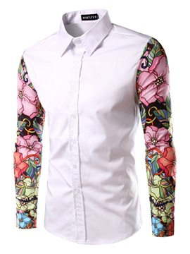 Mosaic Floral Printing Long Sleeve Single-Breasted Lapel Men's Casual Shirt