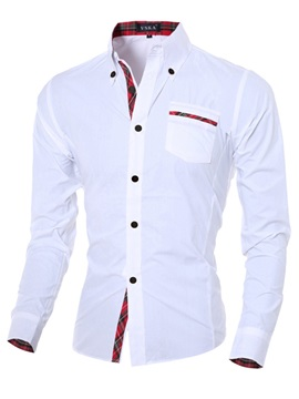 Lapel Patchwork Slim Single-Breasted Men's Casual Shirt