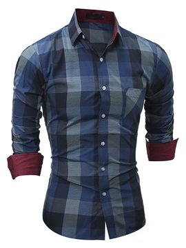 Lapel Color Block Plaid Long Sleeve Men's Casual Shirt