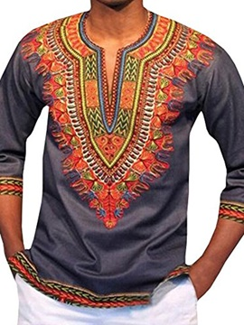 Round Neck Slim African Print Long Sleeve Men's Shirt