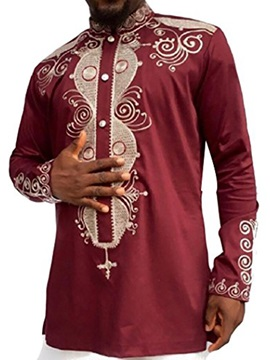 Stand Color Ethnic African Print Color Block Long Sleeve Men's Shirt