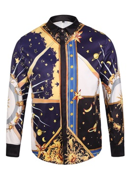 Tidebuy Print Ethnic Print Long Sleeve Men's Shirt