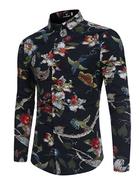 Tidebuy Lapel Floral Print Single-Breasted Men's Shirt