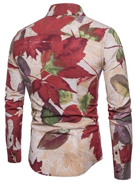 Color Block Leaf Print Men's Stylish Shirt