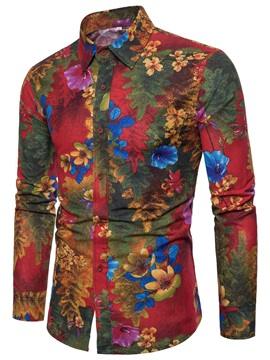 Tidebuy Floral Print Lapel Men's Slim Fit Shirt