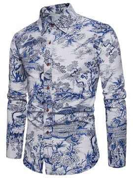 Tidebuy Chinese Style Print Men's Casual Shirt