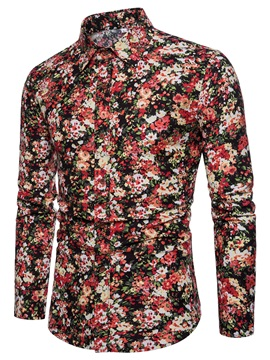 Tidebuy Colorful Floral Print Men's Single-Breasted Shirt